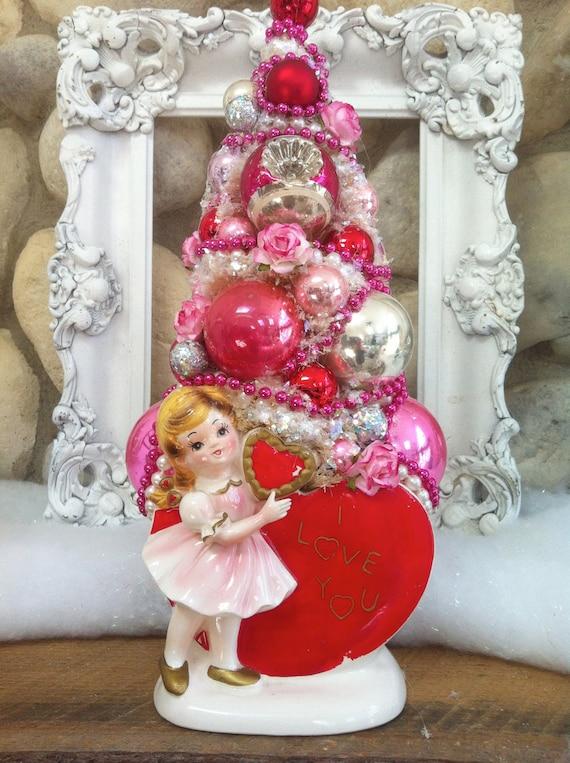 Valentine Bottle Brush Tree, Rubens Planter, pink Valentine ,Valentine Tree, Bottle Brush Tree, Lefton Planter, Valentine, Planter, Pink