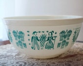 Pyrex Mixing Bowl Turquoise & White Amish Butterprint Pattern