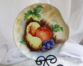 Vintage China Plate Snack Plate Hand Painted Fruit Vivid Colors Peach Yellow Grape Green