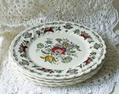 English Transferware Myotts Bouquet No Trim Brown Antique  China Dinner Plates Stoneware Set