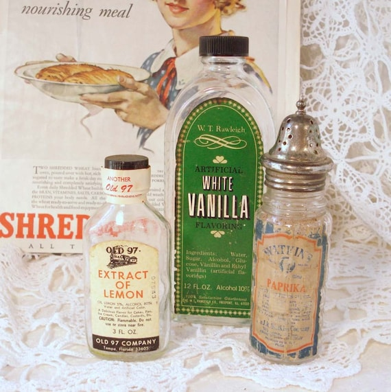 Vintage Kitchen Advertising Bottles