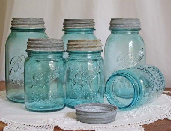 Ball Mason Jar with Zinc Lid - Aqua Blue Pint Size Set of 2