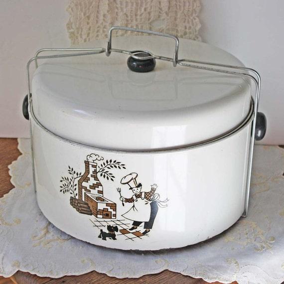 Vintage Tin Enamel Cake and Pie Carrier