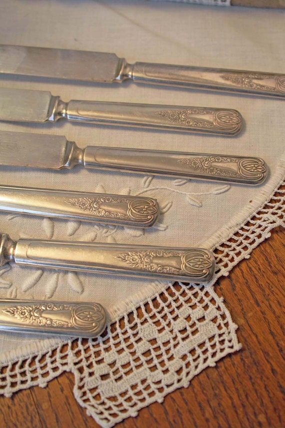 Antique Silver Flatware Set: 6 Desert Knives 1847 Rogers Bros Old Colony