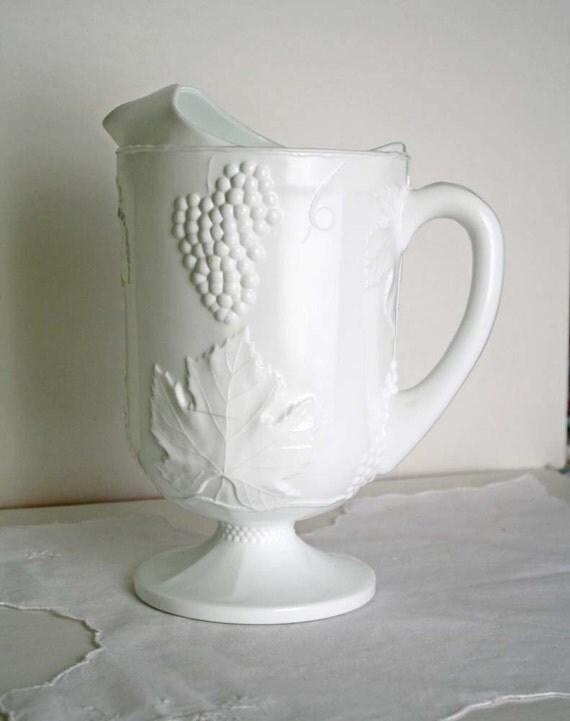 White Milk Glass Pitcher Vintage Indiana Glass Harvest Grape