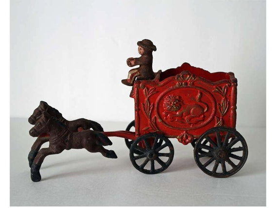 Vintage Cast Iron Circus Wagon Horse Drawn