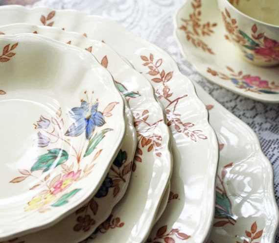 China Dinnerware English  Ironstone Transferware 11 Pcs Vintage 1920