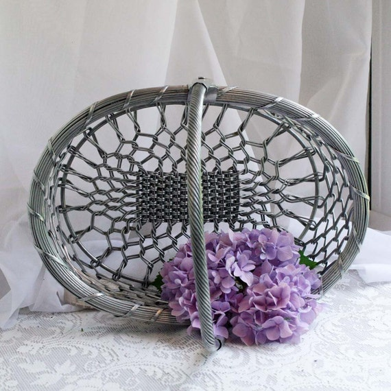 French Market Basket Woven Wire Open Weave Silver or Gray Basket with Articulated Handle