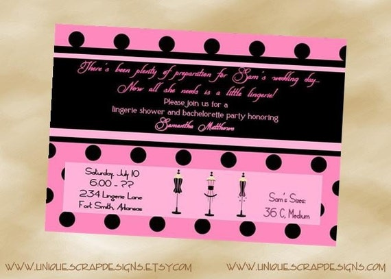 Pink and Black Polka Dot Lingerie Shower or Bachelorette Party Invitations Style DI262 DIGITAL FILE