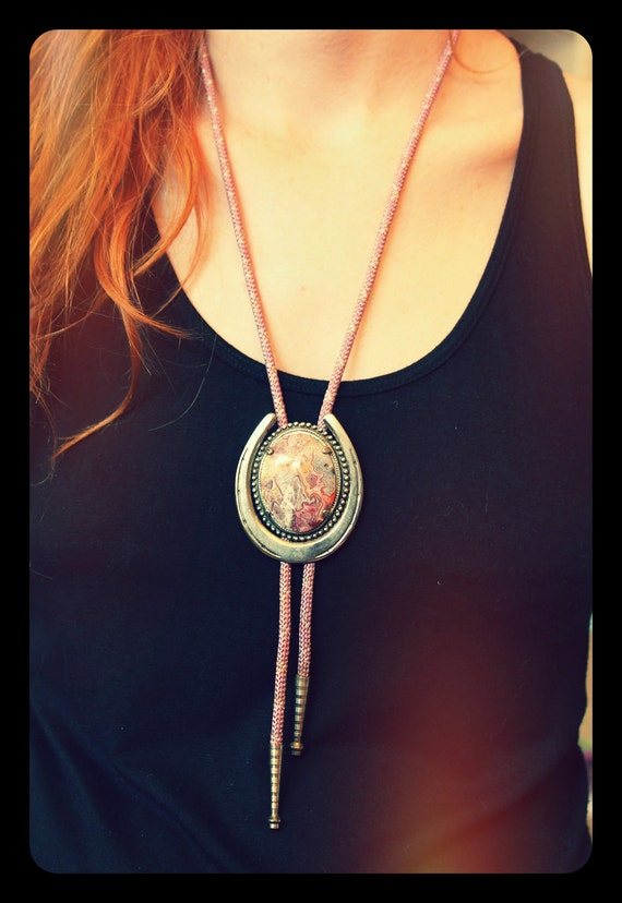 Colorful Polished Stone Bolo Tie