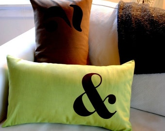 Ampersand Pillow Cover in Apple Green