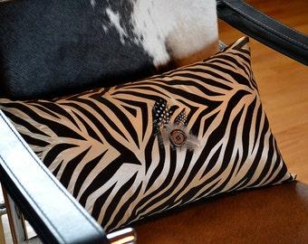 Zebra Print Flocked Pillow Cover