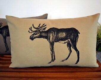 Manny Moose Pillow Cover in Cream, Khaki or Dark Khaki