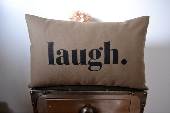 B. Poetic Laugh Pillow Cover in Taupe