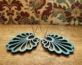 Teal Aqua Blue Carved Wooden Peacock Tail Earrings. On solid Bronze modern Earwires.