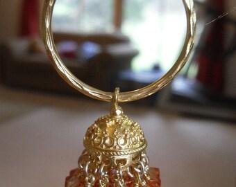 Jaipur jhumkas -  Gold Vermeil Hoop Jhumkas with Apricot color Swarovski Crystals -J84