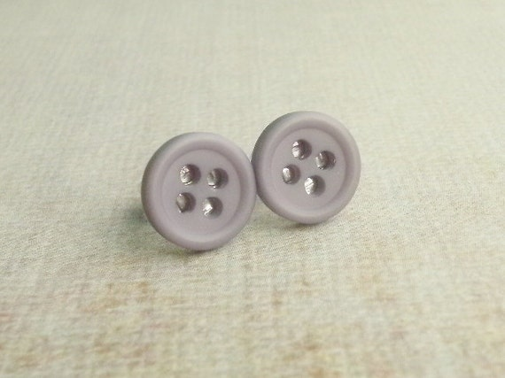 Lavender Button Earrings, Post, Stud, Plastic, Light Purple
