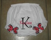 Embroidered zebra print, black and hot pink child's initial personalized diaper cover/bloomer - detachable bows with swarovski rhinestones