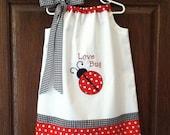 Embroidered - Ladybug love bug pillowcase dress - sizes 6 months to size 5