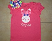 Ribbon Ears Easter Bunny shirt or bodysuit only or shirt and 2-in-1 Bunny Hair Bow set