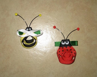 Bumble Bee and Lady Bug Hair Clips Set
