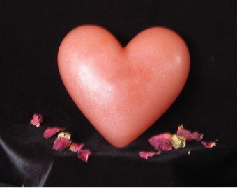 Rose Soap, Heart, All Natural, HUGE  Paraben-free No SLS