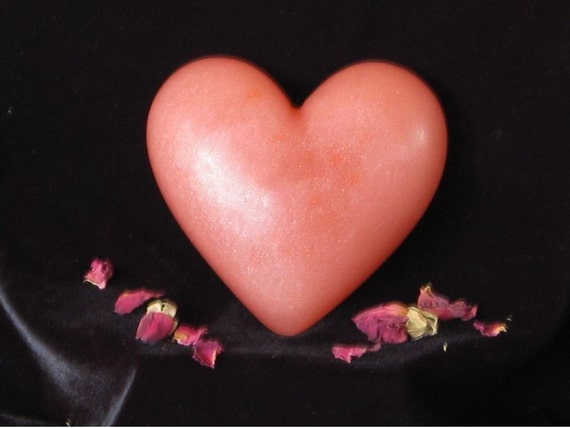 Soap, Rose Heart, All Natural, HUGE  Paraben-free No SLS