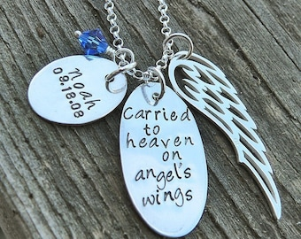 Carried to Heaven on Angel's Wings (Personalized)  - Custom Sterling Loss Necklace