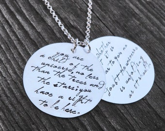 Custom Large 2-Disc Sterling Necklace - Your Saying, Your Font