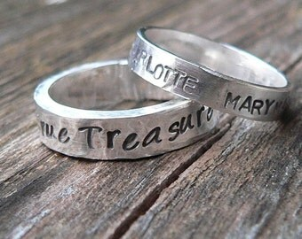 Birth Designs -HIS and HERS - Custom Sterling Silver Hand Stamped Rings