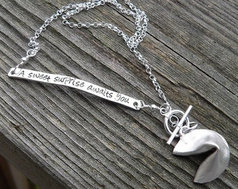 Custom Enscribed Fortune Cookie Necklace
