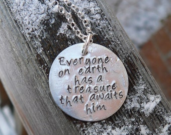 Custom Sterling 2-sided Thick Disc Necklace - Your Choice of 11 Fonts, 235 Symbols