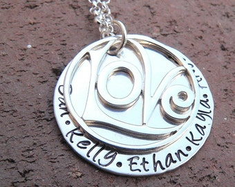 Love All Around...Custom Sterling Name Necklace... Hand Stamped
