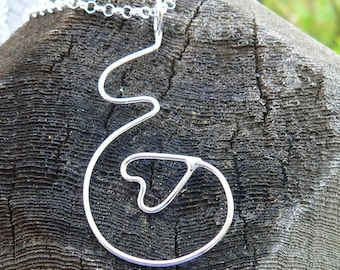 Unfurling Love...A pregnancy necklace. Hand Forged Sterling Silver, Each One Unique, Choice of Finish and Length. Midwife or Doula Gift.