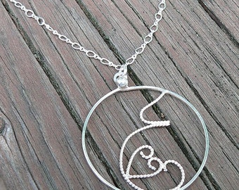 Fluttering Love...A pregnancy necklace. Hand Forged Sterling Silver, Each One Unique, Choice of Finish and Length. Midwife or Doula Gift.
