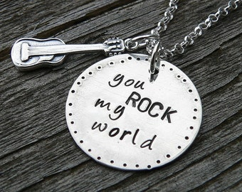 You ROCK My World...sterling necklace