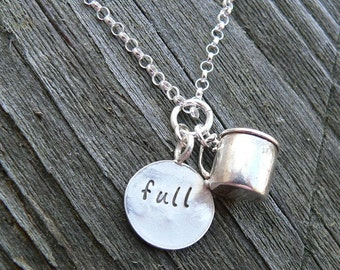 Cup Half Full...Cup Half Empty - Sterling Silver Charm necklace