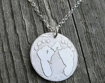 I Wear Your Footprints - Remembrance Necklace - keep a loved one close to your heart