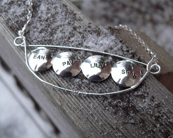 Personalized Peapod Name or Word Necklace (4 peas)