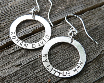 Circle of Love Earrings - Choose Custom Phrase Name or Words - Several Font Choices - Solid Hand Forged Sterling Silver - Choice of Earwire