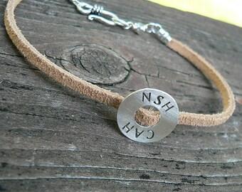 Split Suede Circle Bracelet - Choice of 6 Fonts - Custom - Unisex
