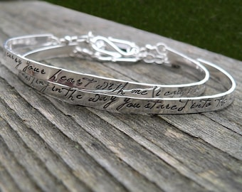 Birth Designs -Custom Stamped Sterling Phrase Cuff