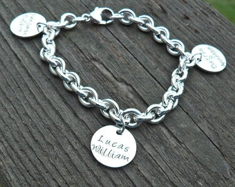 Super Thick Sterling Charm Bracelet - Handstamped with Your Choice of Charm/Font