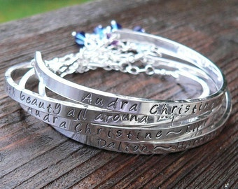 Stamped Sterling Cuff Mothers Bracelet - Choice of 7 Fonts