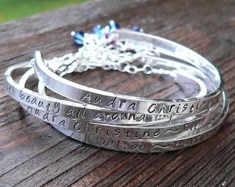 Birth Designs -Stamped Sterling Cuff Mothers Bracelet