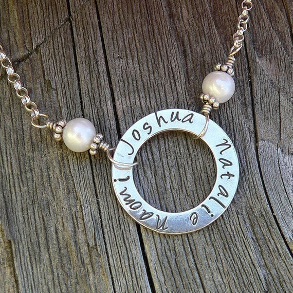 The Mothers Circle - a Customizable Necklace...10 font choices