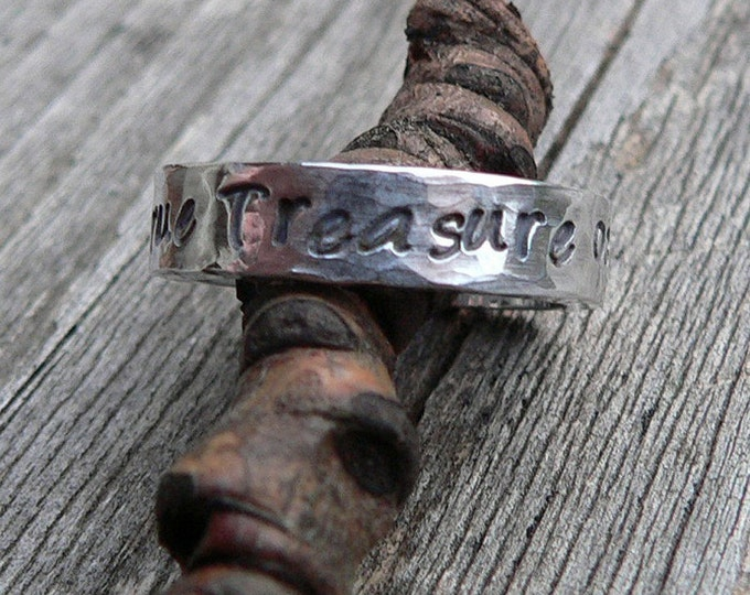 Custom Thick Sterling Silver Engraved Ring - Unisex - Choose from 10 Fonts