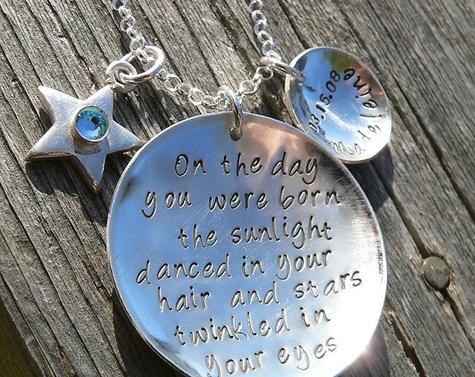 On the Day You Were Born... Necklace...Personalized with Birthstone