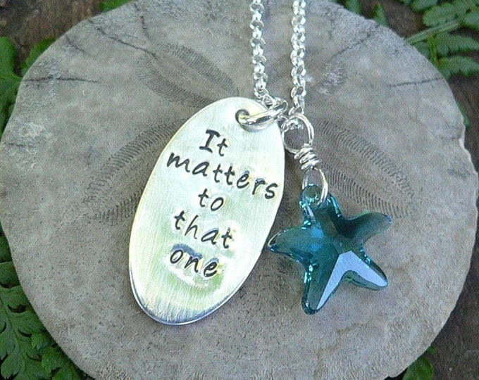 The Starfish Story Necklace - Solid Sterling Silver and Swarovski Crystal - A Wonderful Gift - Comes with Story Card