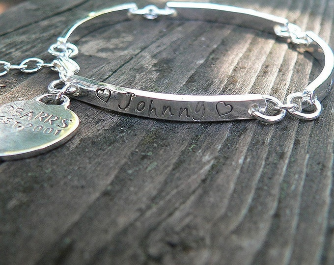 Stamped Sterling Link Bracelet with Heart Charm - Thick - Customize Words, Font